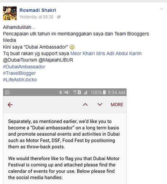 Bangga Rakan Blogger Jadi Dubai Ambassador
