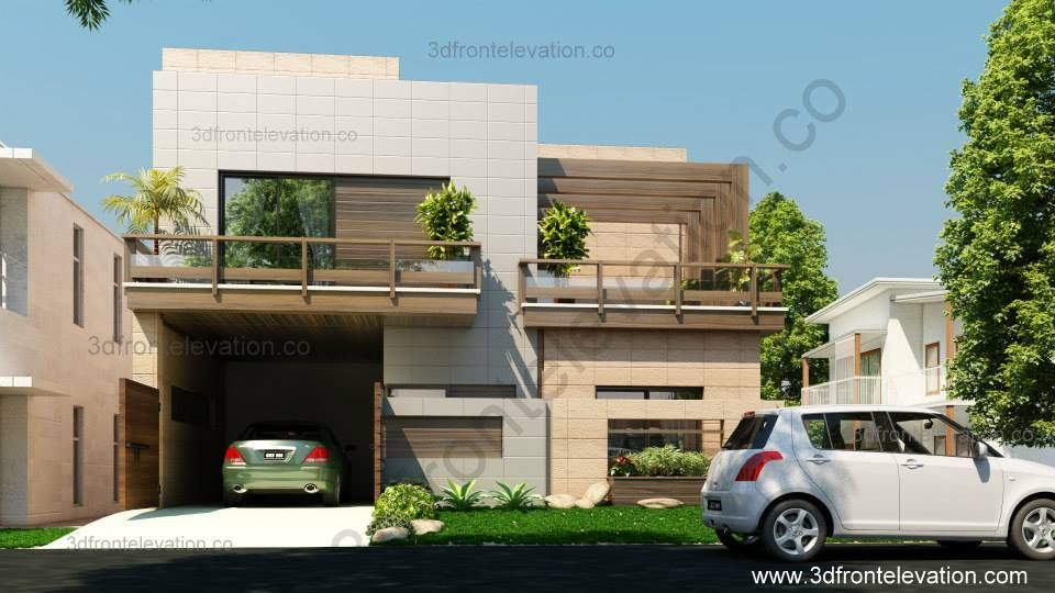 Front Elevation Of Corner Houses : D front elevation corner house marla plan design