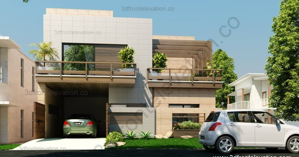 Front Elevation Corner House : D front elevation corner house marla plan design