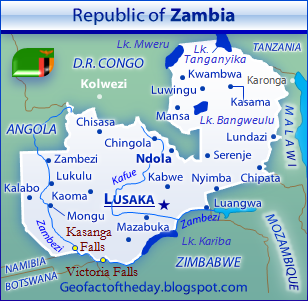 General reference map of Zambia depicting cities, neighboring countries, major lakes, and major rivers