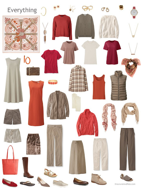 capsule wardrobe in shades of brown with red and orange