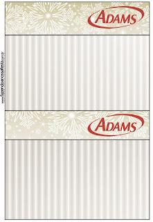 Etiquetas de Chicle Adams de Dorado y Gris para imprimir gratis.