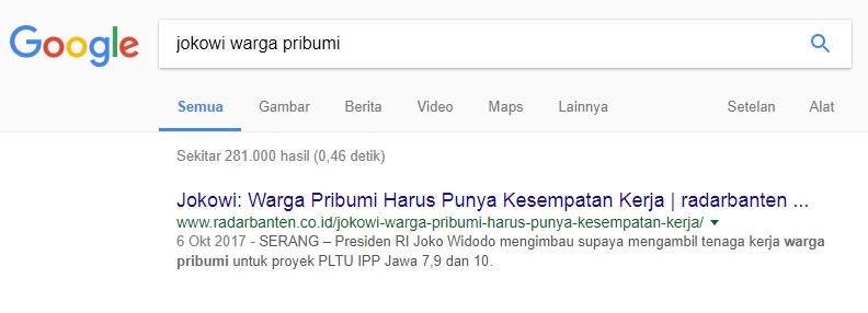 Jokowi gunakan istilah pribumi