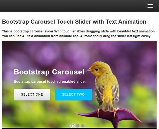 Create a Responsive Bootstrap Carousel Touch Slider with Text
