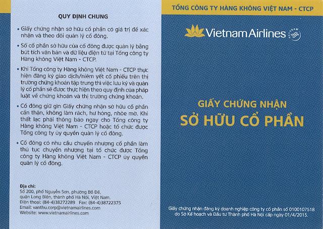 Giấy chứng nhận sở hữu cổ phần Hàng Không Việt Nam (Sổ cổ đông HVN)
