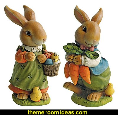 Bunny Hop Lane Mother and Father Rabbit Statues