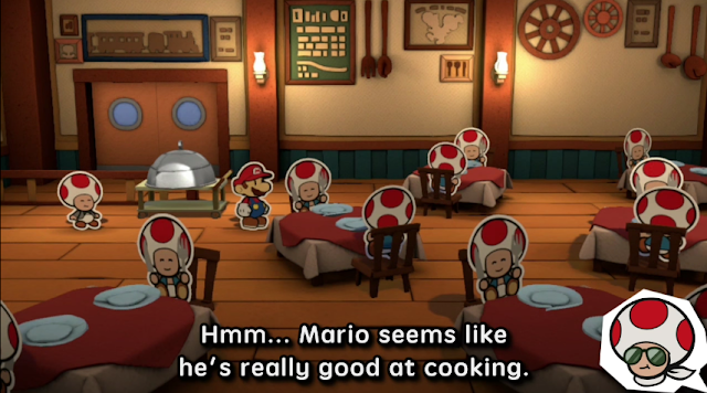 Paper Mario Color Splash cooking skill restaurant dinner Nintendo Wii U Toads Chef