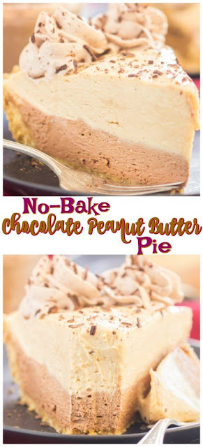 NO BAKE DOUBLE LAYER CHOCOLATE PEANUT BUTTER PIE