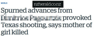 Spurned advances from [Shooter #101] provoked Texas shooting, says mother of girl killed (NZ Herald)