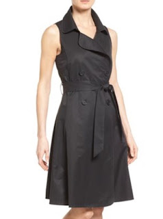 Halogen sleeveless belted double breasted black trench dress with buttons