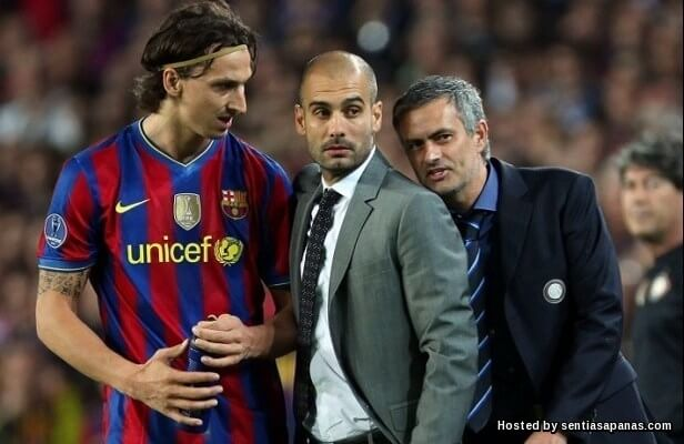 Zlatan+Jose+Pep Guardiola