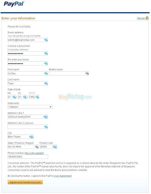 hướng dẫn đăng ký paypal bước 3