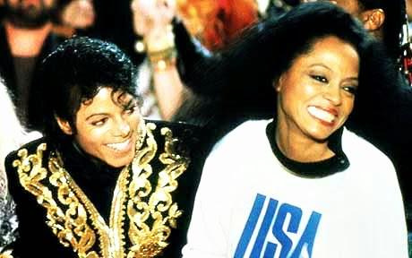 """Michael Jackson e Diana Ross, na gravação de """"We Are the World"""""""