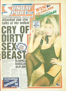 front cover of the Sunday Sport newspaper from 31st January 1988