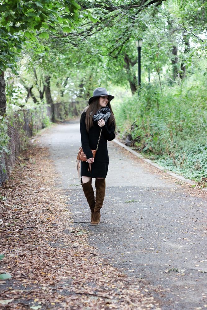 Fall Fashion | Black Sweater Dress + OTK Boots