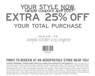 Aeropostale coupons for april 2017