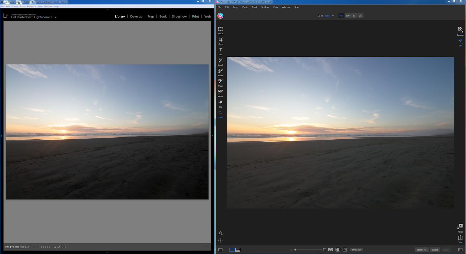 Adobe Lightroom Classic vs ON1 photo raw
