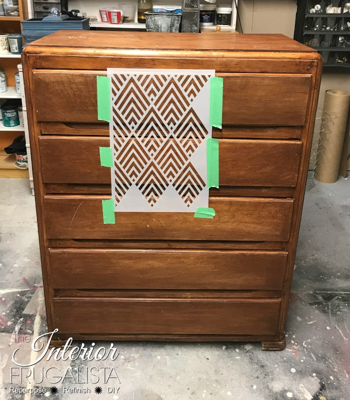 Geometric Dresser Makeover Stencil Alignment