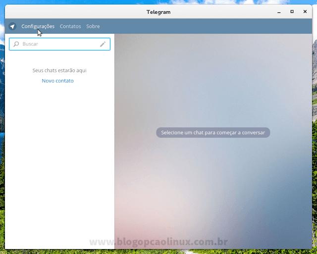 """Clique em """"Configurações"""" para definir um nome de usuário público no Telegram"""