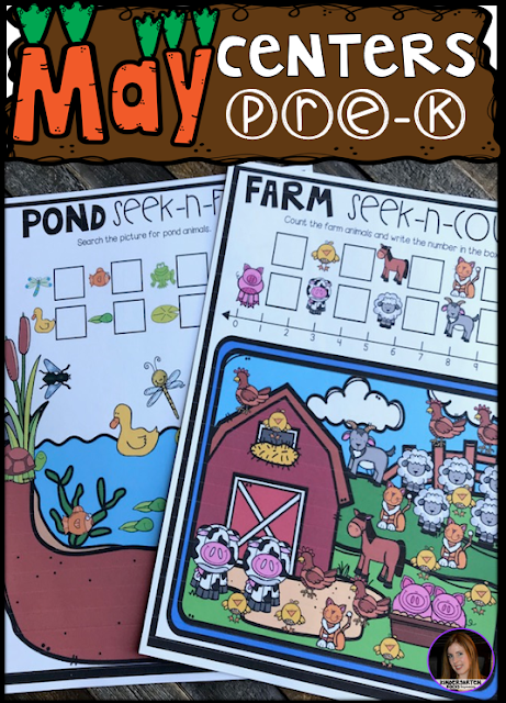 Are you looking for fun hands on centers for your pond, insects and spring themed activities? The Preschool End of the Year Spring Centers for May is sure to keep their interest and will help build important literacy, math and writing (fine-motor) skills. Like this farm seek and color.