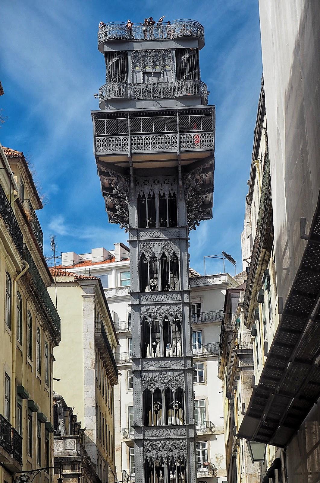 Looking up at the magnificent Santa Justa Lift