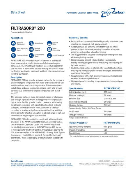 Product Data Sheet (PDS) Karbon Aktif Calgon FiltraSorb 200