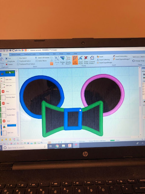 applique creation of shapes using Premier +2 Create for a birthday shirt.