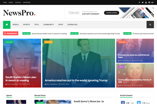 NewsPro - Responsive Magazine Blogger Template