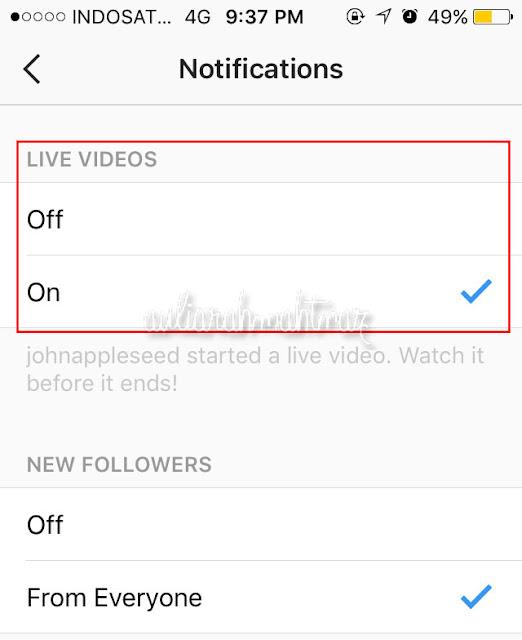 Cara Mematikan Notifikasi Live Instagram