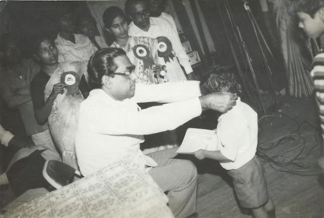 shaurabh bharti Accepting prize for singing, 1987