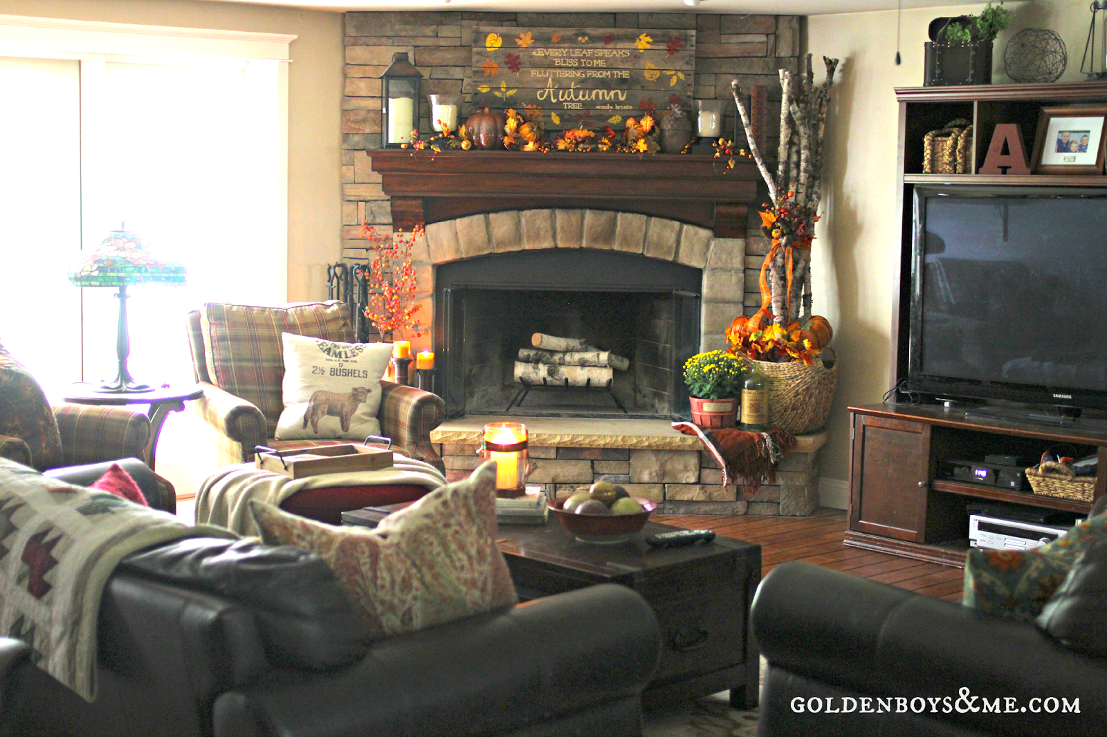 Our Fall Home {Part One} | Golden Boys and Me - Corner Fireplace Family Room Photos