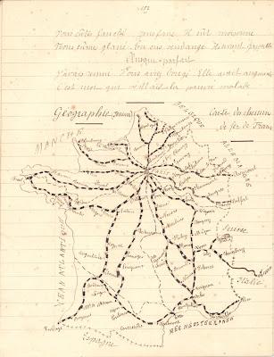 Géographie, cahier de devoirs journaliers,  on notera l'absence de l'Alsace-Lorraine sur cette carte,1878 (collection musée)