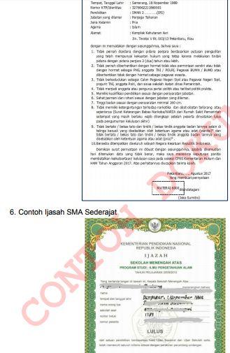 gambar dokumen surat pernyataan cpns 2017