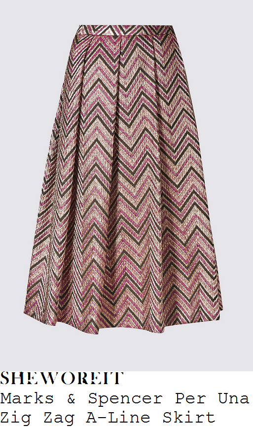 lorraine-kelly-marks-and-spencer-per-una-rose-pink-berry-pink-gold-and-black-chevron-zig-zag-pattern-jacquard-high-waisted-pleated-a-line-midi-skirt