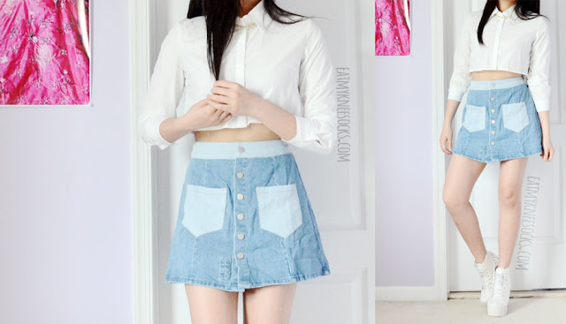 A summer-ready outfit featuring the denim button-front patchwork light waist rose patch embroidered a-line mini skirt from Zaful, paired with a white cropped long sleeve buttoned shirt and platform boots.