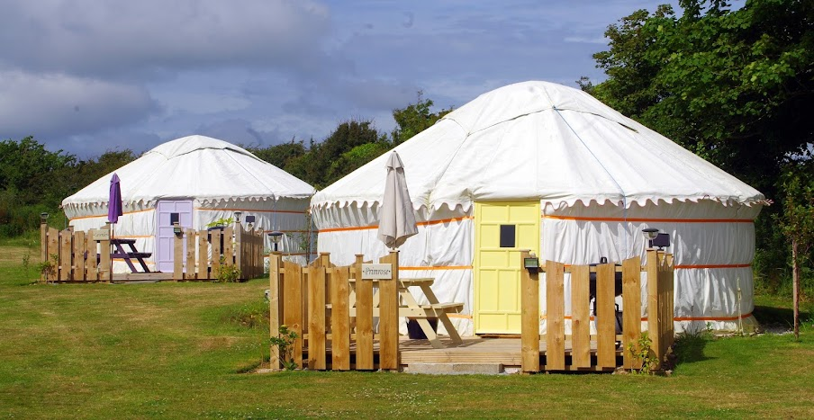 Bathroom Yurt glamping in cornwall with country view cottages & yurts | the
