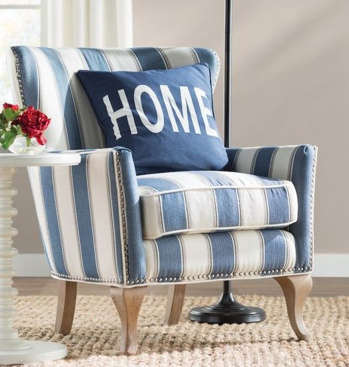Blue Striped Accent Chair on Sale