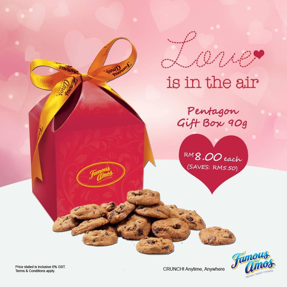 Famous Amos Malaysia Valentine Day Pentagon Gift Box Discount Promo