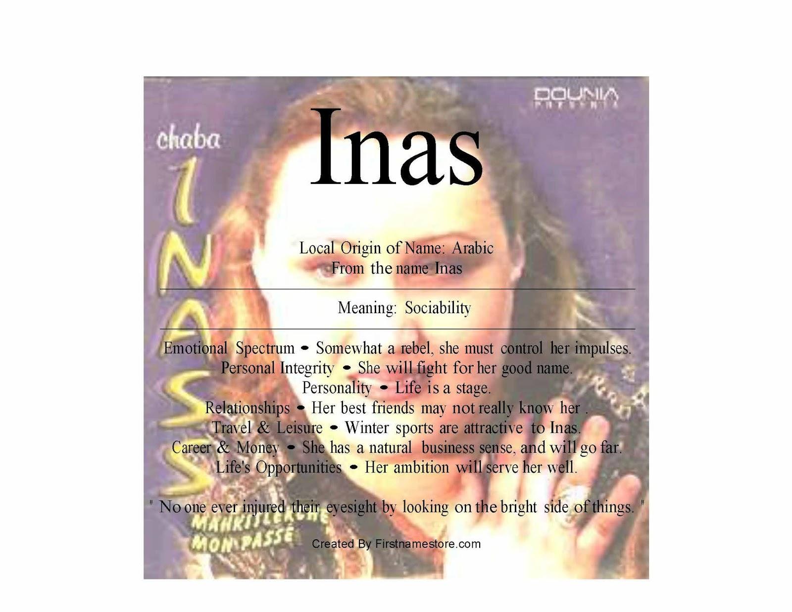 Inas name means sociability | FirstNameStore com