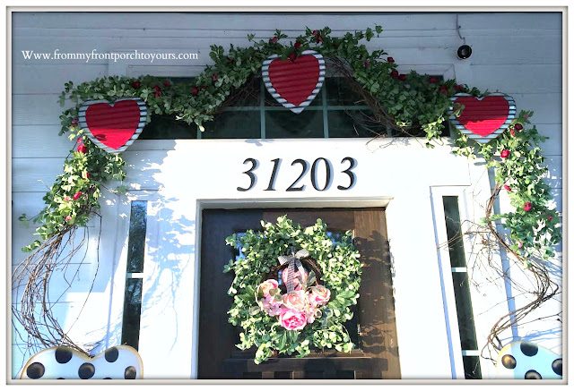 Valentines Day Front Porch-Decor-Heart Garland-Wreath-From My Front Porch To Yours