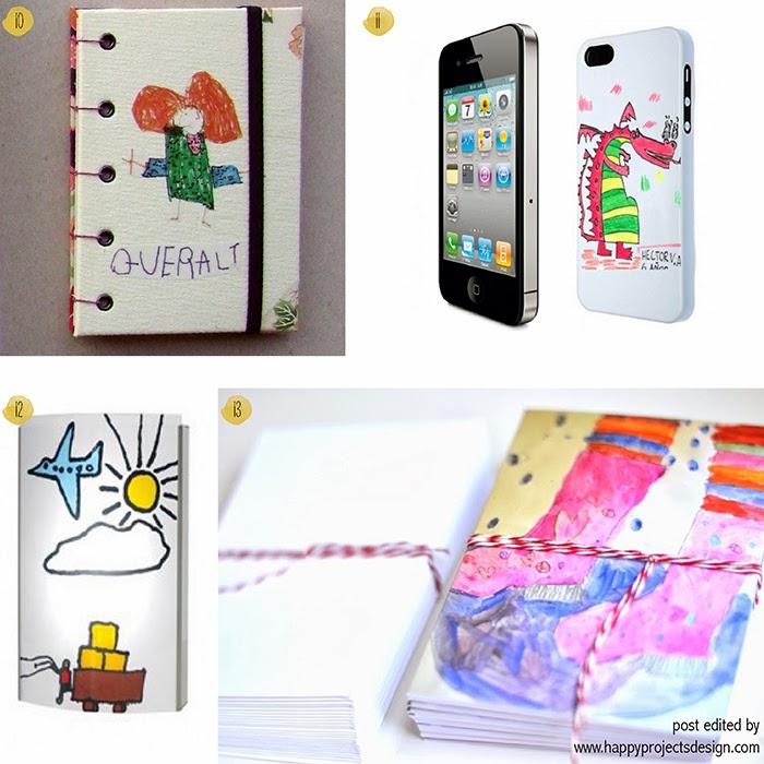 15 maneras creativas de regalar dibujos de niños: libretas, fundas móvil, lámpara y tarjetas