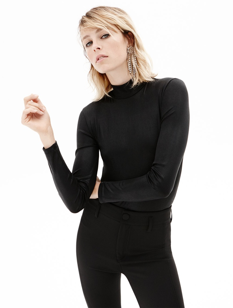 Edie Campbell models Zara Shiny Polo Neck Bodysuit, Trouser Leggings and Sparkly Ear Cuff
