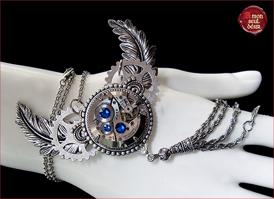 collier victorien steampunk ailes plumes argent mecanisme montre mouvement clockwork necklace watch parts silver feather wings gear wheel jewelry