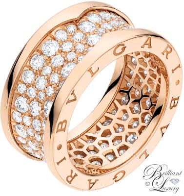 Bvlgari B.zero1 18k pink gold ring with pavé diamonds #brilliantluxury