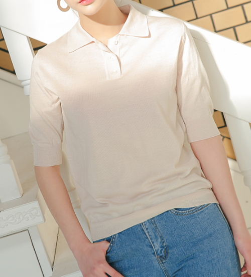 Collared Short Sleeve Knit Top