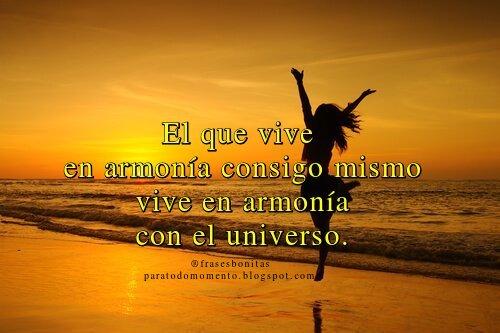 El que vive en armonía consigo mismo vive en armonía con el universo.