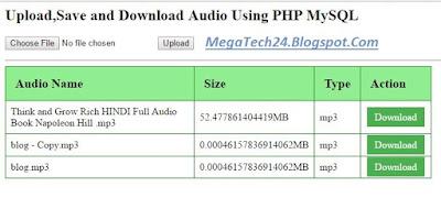 php mysql upload audio