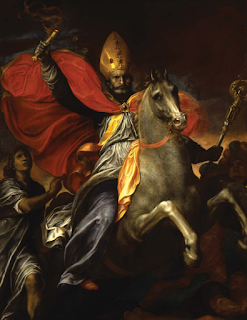 Ambrogio Ficino's 1590 painting of the apparition  of St Ambrose at the Battle of Parabiago