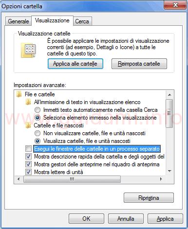 Windows disattivare opzione Esegui finestre processo separato