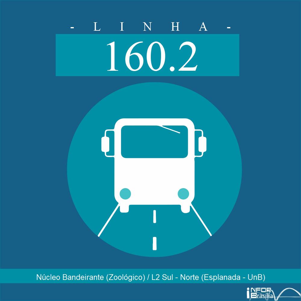 Horário de ônibus e itinerário 160.2 - Núcleo Bandeirante (Zoológico) / L2 Sul - Norte (Esplanada - UnB)